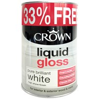 Crown  Liquid Gloss Pure Brilliant White Paint - 750ml + 33% Extra Free