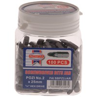 Faithfull  Pozi No.2 S2 Screwdriver Bits 25mm - 100 Piece