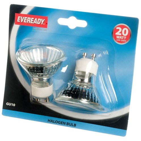 Eveready  Halogen Light Bulb 20W GU10 - 2 Pack