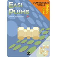 Easi Plumb  610 Metric Brass Compression Straight Coupling Pipe Fitting