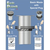 Easi Plumb  Slotted Basin Waste with Popper Plug - 1.25in