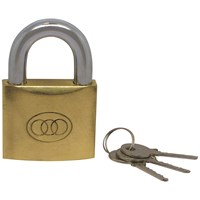 Tri- Circle  Heavy Duty Long Shackle Brass Padlock - 50mm